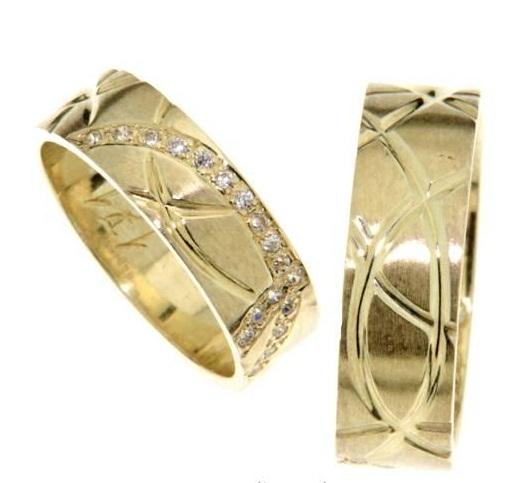 Elegantní snubní prsteny magic ze žlutého zlata