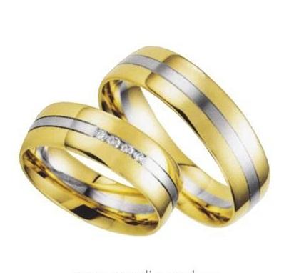 Zlatý snubní prsten GEMS EXCELENT, 200-201 ze žlutého a bílého zlata