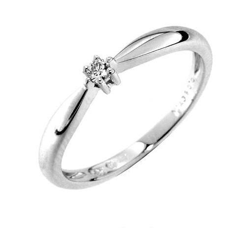 Zásnubní prsten s diamantem, bílé zlato 386-0218, Gems Denisa