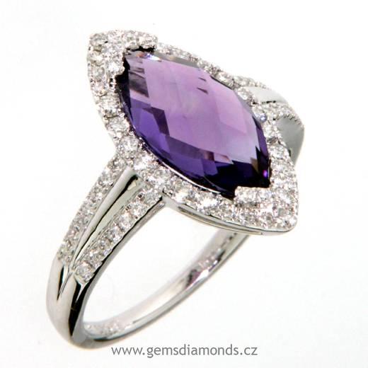 Luxusní prsten s diamanty, ametyst, bílé zlato