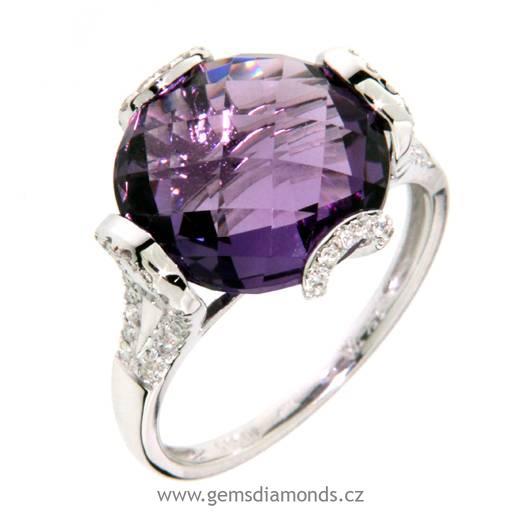 Luxusní prsten s diamanty, ametyst, kolekce Magic, bílé zlato (3860997)