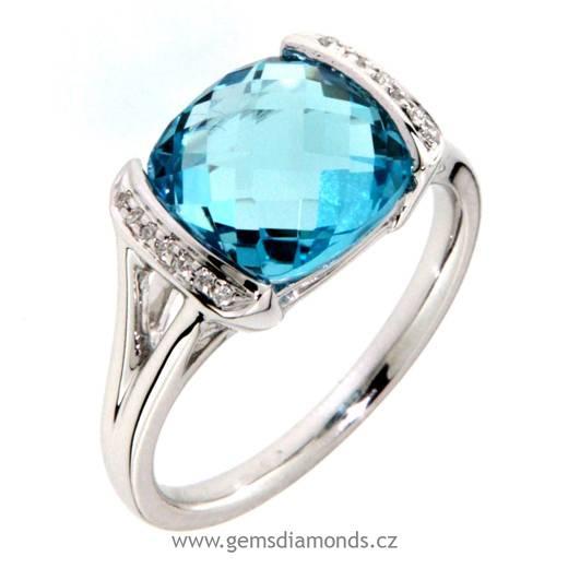 Luxusní prsten s diamanty, blue topaz, kolekce Glare, bílé zlato