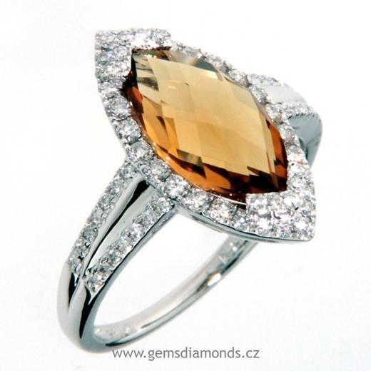 Luxusní prsten s diamanty, citrín, bílé zlato