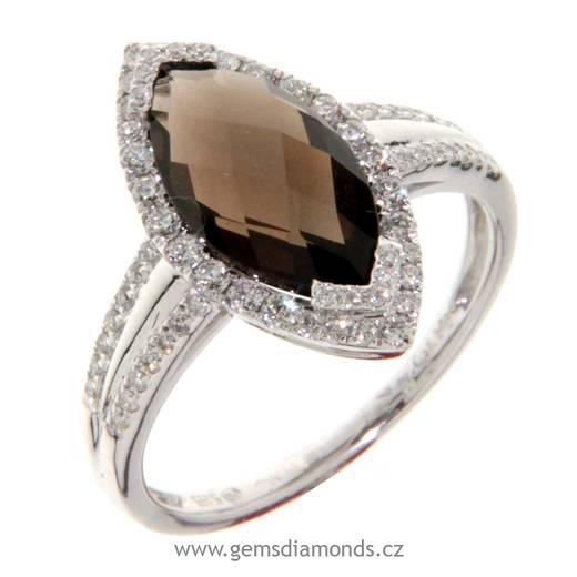 Luxusní prsten s diamanty, záhněda, bílé zlato, 3861026 (3861026)