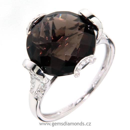 Luxusní prsten s diamanty, záhněda, kolekce Magic, bílé zlato (3860994)