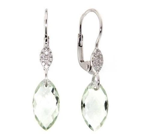 Náušnice s diamanty, zelený ametyst, kolekce Breeze, bílé zlato
