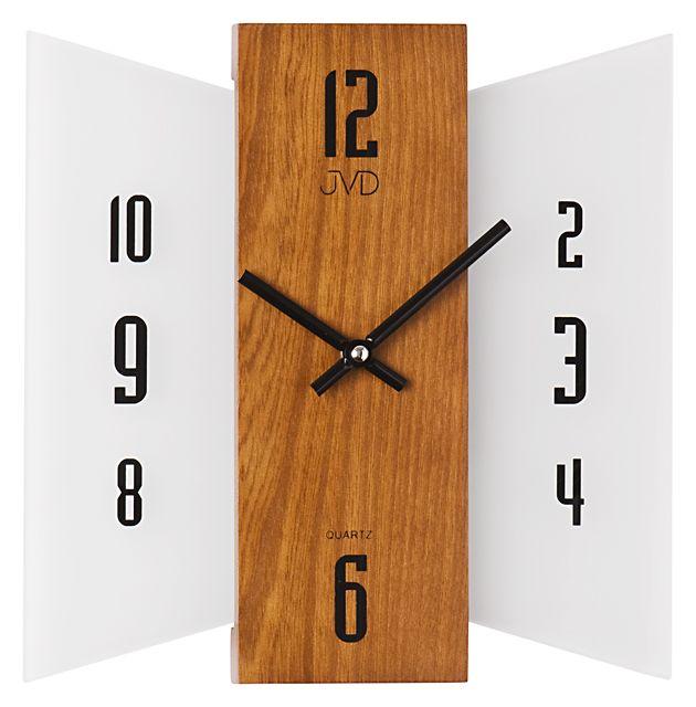 Skleněné dřevěné Nástěnné hodiny JVD N12004.11 - NOVINKA