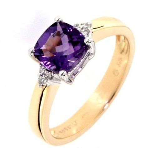 Luxusní prsten s diamanty, ametyst, žluté zlato - zásnubní prsten
