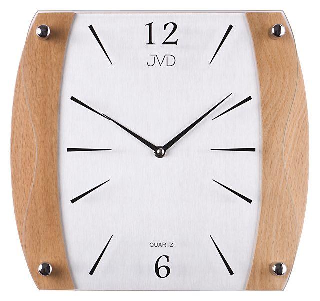 Dřevěné skleněné nástěnné hodiny JVD N11027.68