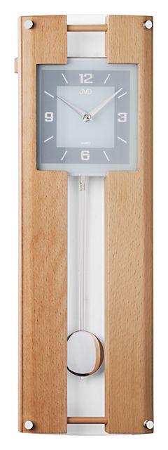 Dřevěné skleněné kyvadlové nástěnné hodiny JVD quartz N12009.68