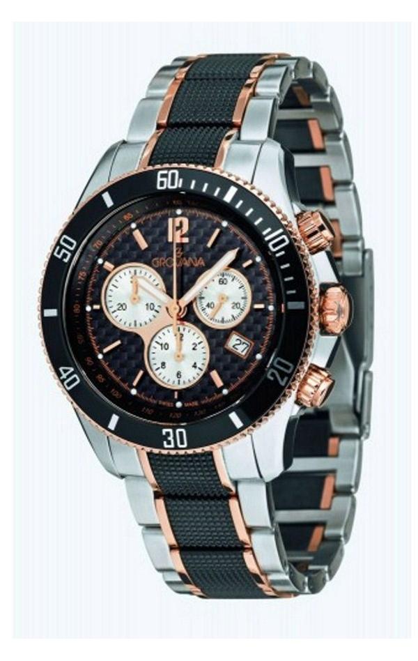 Mohutné černo-zlaté ocelové luxusní švýcarské sportovní hodinky GROVANA 1615.91