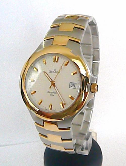 Značkový ocelové bicolor švýcarské hodinky Grovana se safírovým sklem 2077.1