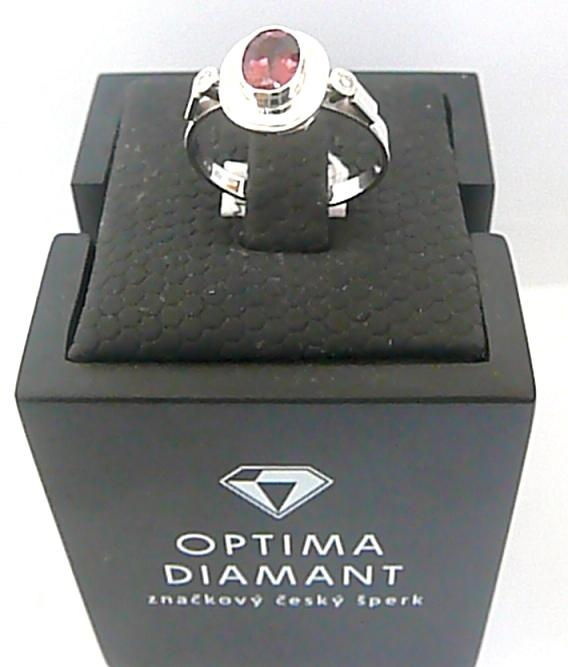 Diamantový prsten z bílého zlata s TURMALÍNEM (1,067ct) a přírodními DIAMANTY -