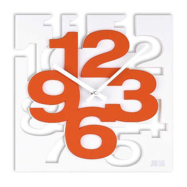 Luxusní designové oranžovo-bílé nástěnné hodiny JVD TIME H106.1