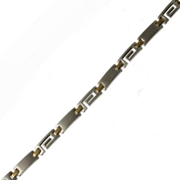 Pánský ocelo/zlatý náramek z chirurgické oceli 316L 205 - 211205