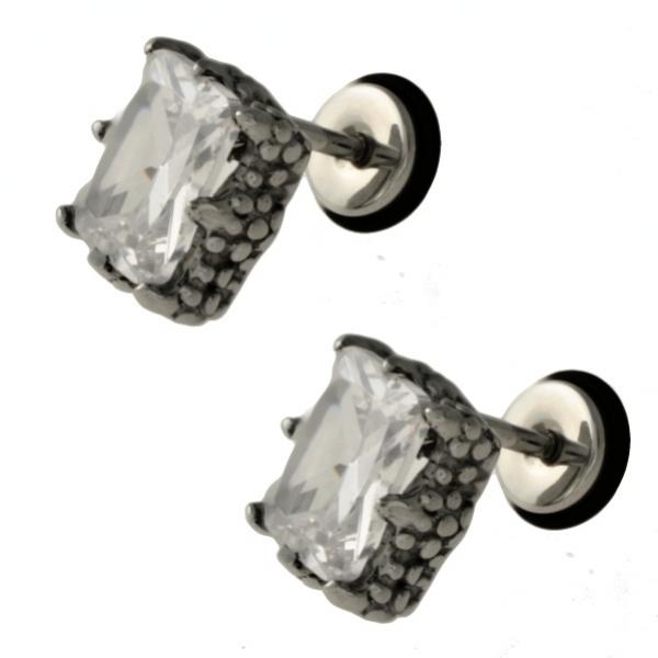 Matované náušnice z chirurgické oceli se zirkony 316 L - 214246