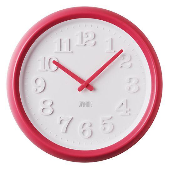 Dětské růžovo/červené nástěnné hodiny JVD TIME H102.3