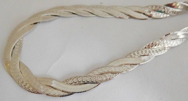 Stříbrný pletený masivní náramek - rhodiovaný 18cm 5,84gr 030425600035