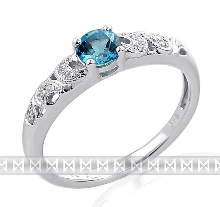 Zásnubní prsten s diamantem, bílé zlato briliant, modrý topaz (blue topaz) VEL. 58 3860311