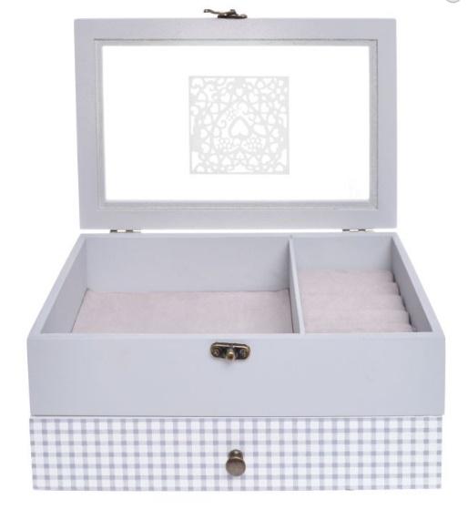Elegantní dřevěná velká bílá šperkovnice pro drobné šperky 33378/33845