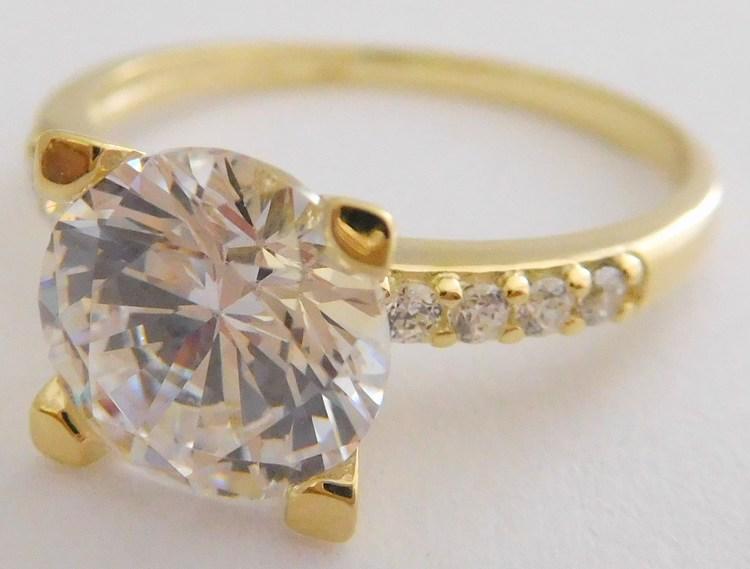 48ae6a445 Mohutný zlatý zásnubní prsten s velkým zirkonem 585/3,03gr vel. 59 226041113