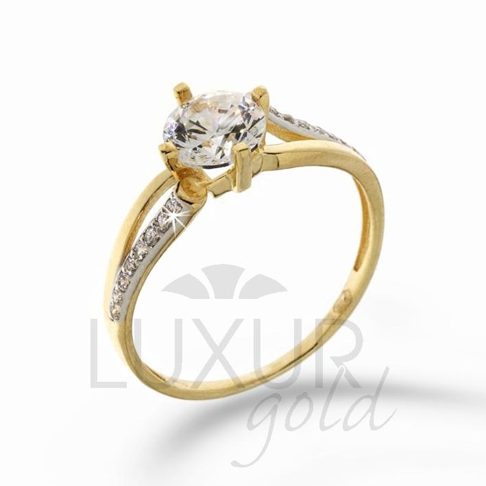 Zásnubní prsten žluté zlato se zirkonem kombinace zlata 1211105-5-52-1 (1211105-5-52-1)