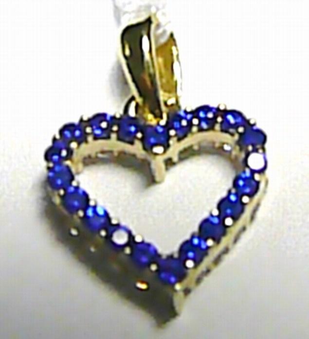 Oboustraný zlatý přívěsek srdíčko se zirkony a safíry 40 ks 585/0,80gr H228