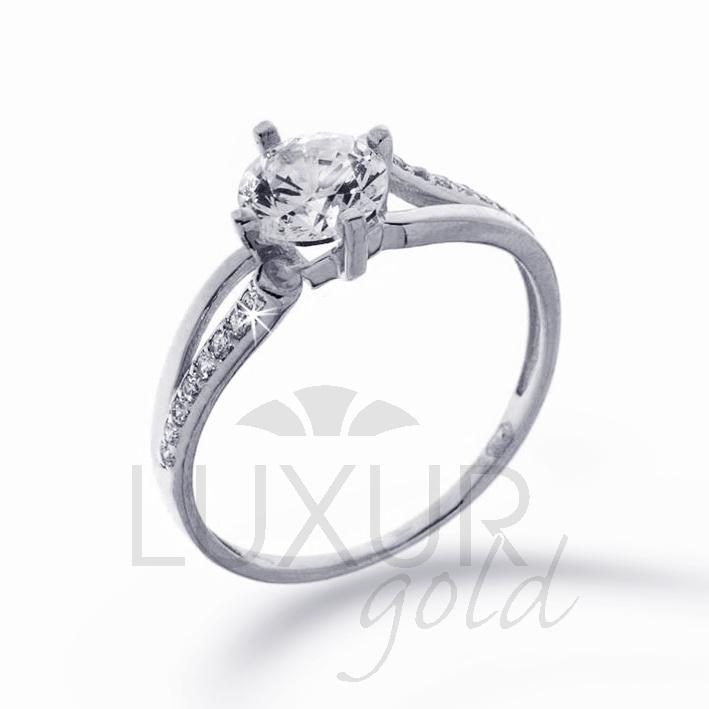 Mohutný zásnubní prsten bílé zlato se zirkonem 585/1,82 gr vel. 56 P379 POŠTOVNÉ ZDARMA! (126