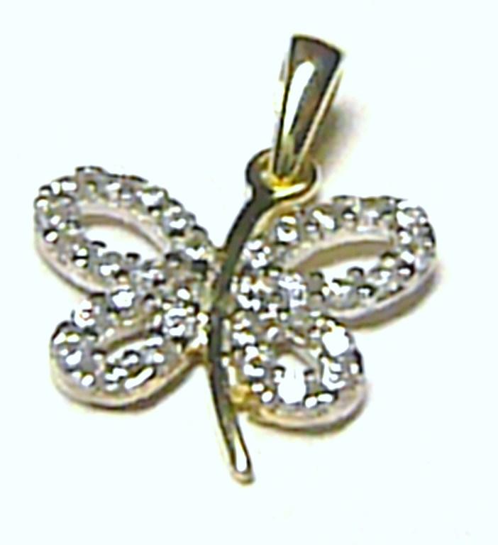 Zlatý přívěsek - čtyřlístek pro štěstí posetý zirkony 585/0,94 gr H393
