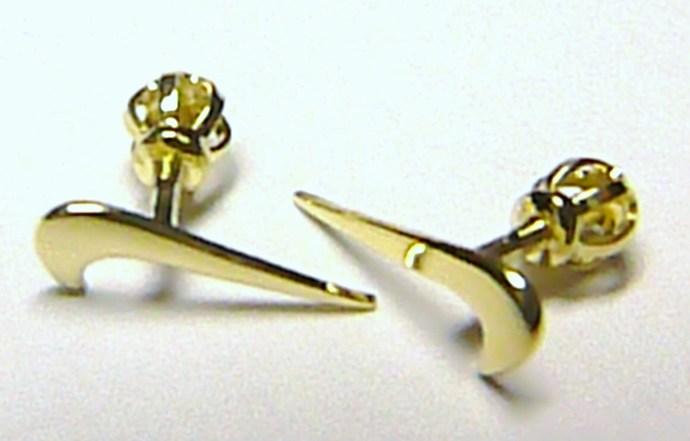 Zlaté pecičky - zlaté pecky náušnice ve tvaru NIKE na šroubek 585/0,54gr Z060 (231041013)