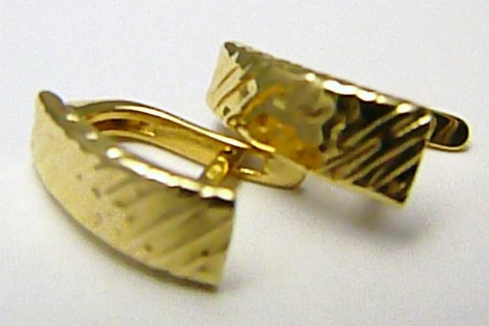 Luxusní zlaté náušnice - čtvrtkroužky s gravírováním 585/1,48gr H478