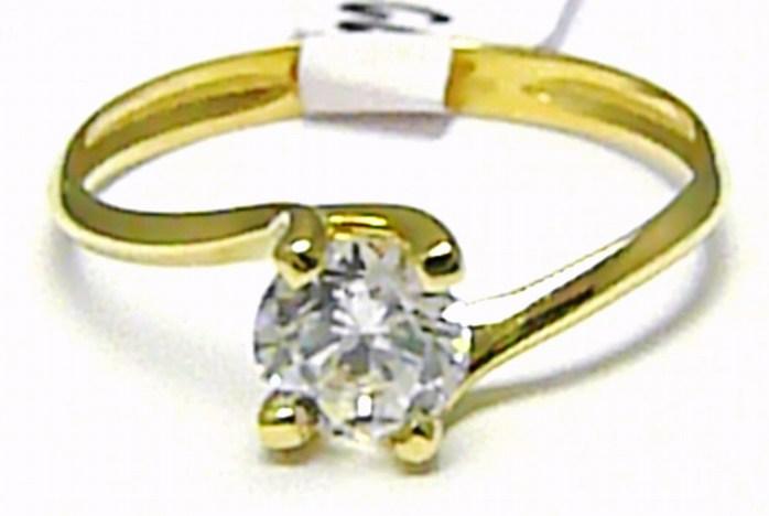 Velký zásnubní prsten s velkým zirkonem 585/1,59 gr vel. 55 H482