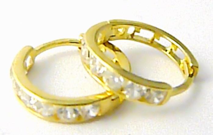 Zlaté kruhy - zlaté náušnice poseté zirkony pr. 13mm 585/1,45gr 1131196
