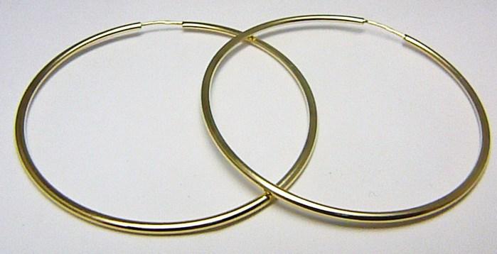 Dámské obrovské velké zlaté kruhy 45mm/4,5cm 585/1,57gr H549 POŠTOVNÉ ZDARMA!