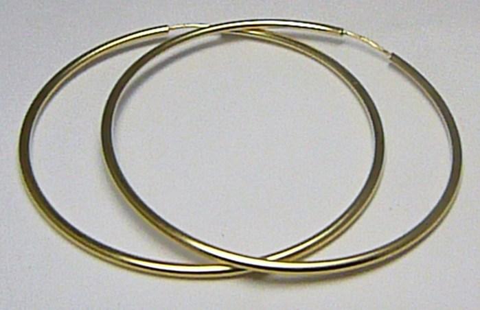 Dámské obrovské velké zlaté kruhy 50mm/5cm 585/1,56gr H550 POŠTOVNÉ ZDARMA!