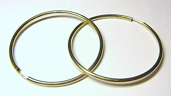 Obrovské velké zlaté kruhy - průměr 4,0cm/40mm - 585/1,29gr H551