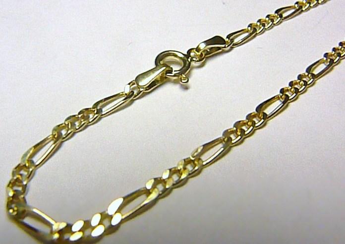 Pánský mohutný zlatý prodloužený řetízek - zlaté FIGARO 50cm 585/2,01gr H567