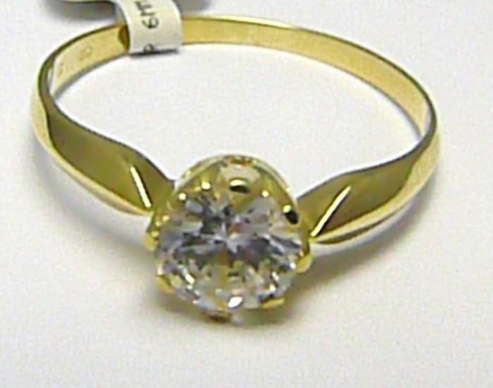 Dámský zásnubní zlatý prsten s velkým zirkonem 585/1,42 gr vel. 53 P546 (4515037)