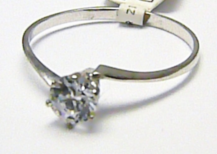 Zásnubní zlatý prstýnek z bílého zlata s velkým zirkonem 585/0,97 gr vel.54 P577 POŠTOVNÉ ZDARMA!