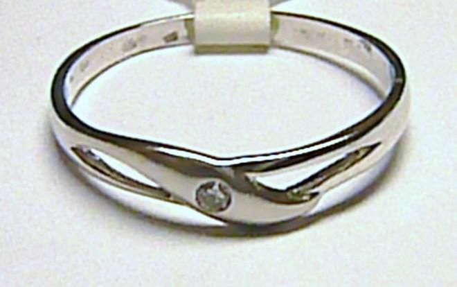 Dámský zlatý prstýnek z bílého zlata se zirkonem vel. 57 585/1,6 gr T199