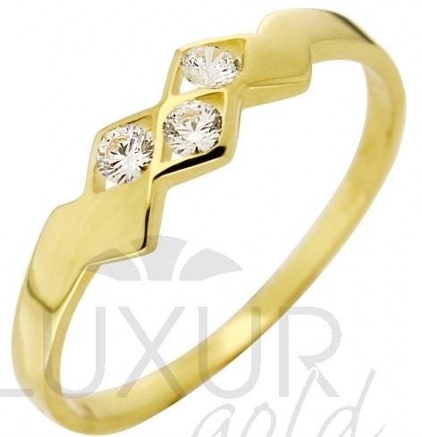 Dámský moderní zlatý prstýnek se třemi zirkony vel. 55 585/1,52gr 3510210 (3510210)