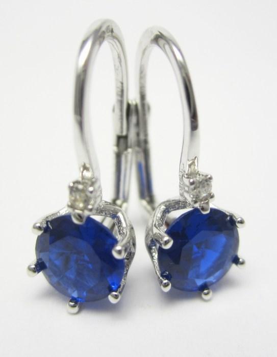 Dámské náušnice z bílého zlata se zirkony a modrým safírem 585/2,00gr P687 POŠTOVNÉ ZDARMA!!