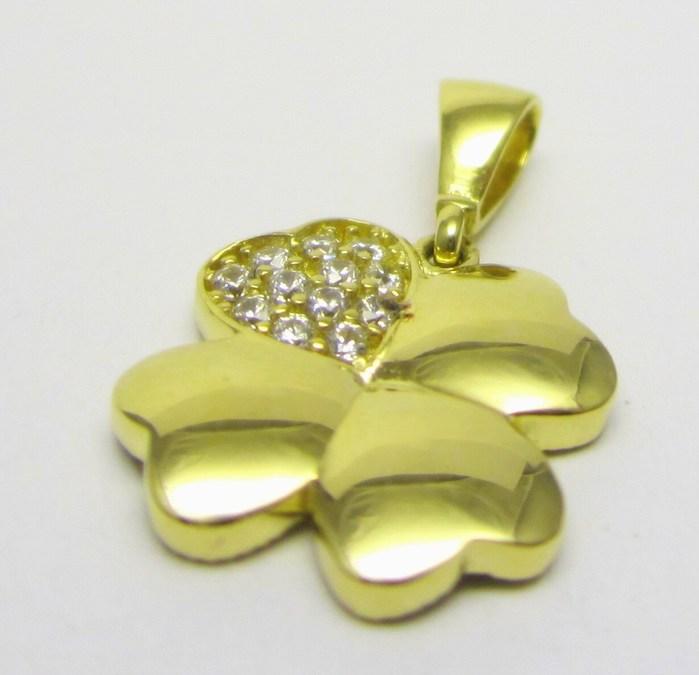 Zlatý přívěsek se zirkony - čtyřlístek pro štěstí 585/1,23 gr H649 POŠTOVNÉ ZDARMA!!