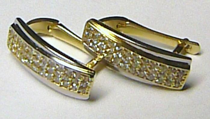 Luxusní moderní mohutné zlaté náušnice poseté zirkony (72 ks) 585 3 ... 71ddd743ea8