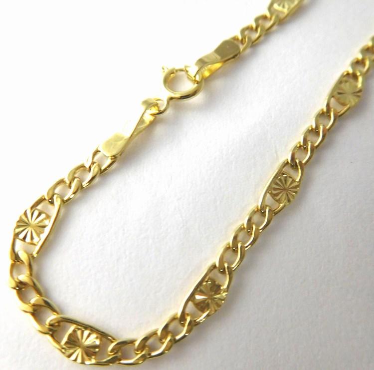 Dámský/pánský mohutný zlatý řetízek s gravírováním 50cm 585/3,06gr H773