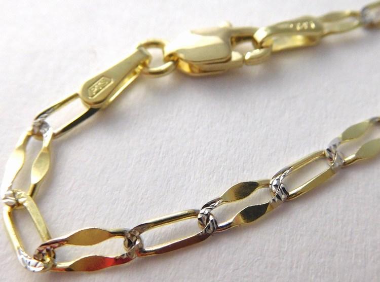 Mohutný zlatý řetěz - řetízek šířka 2,5mm s gravírováním 585/4,22gr 50cm 3640026