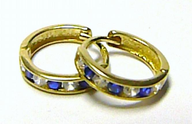 Zlaté náušnice ze žlutého zlata s modrými zirkony - zlaté kroužky 585/1,00g P069 (1131195)