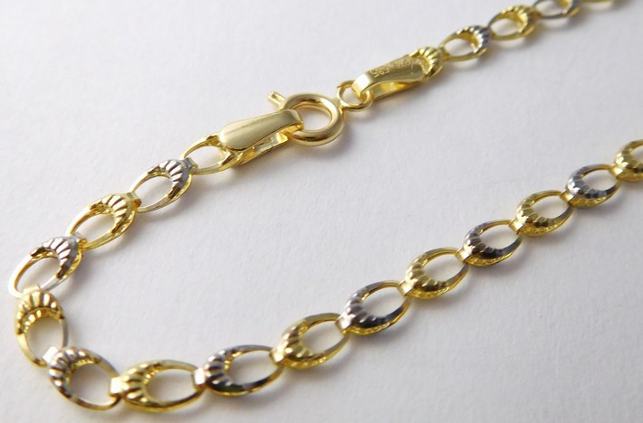 Ozdobný zlatý náramek z dvojího zlata 585/1,30gr 19cm 1147022 (1147022 - DOPRAVA ZDARMA)