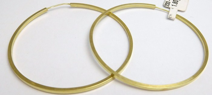 Mohutné velké zlaté kruhy (hranaté) cca 4cm 585/1,72gr H837