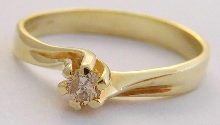 Zásnubní zlatý diamantový prsten s diamantem vel. 58 585/1,96gr 17-01 207 (17-01 207 - POŠTOVNÉ ZDARMA!!! SKLADEM IHNED ODESÍLÁME!!)